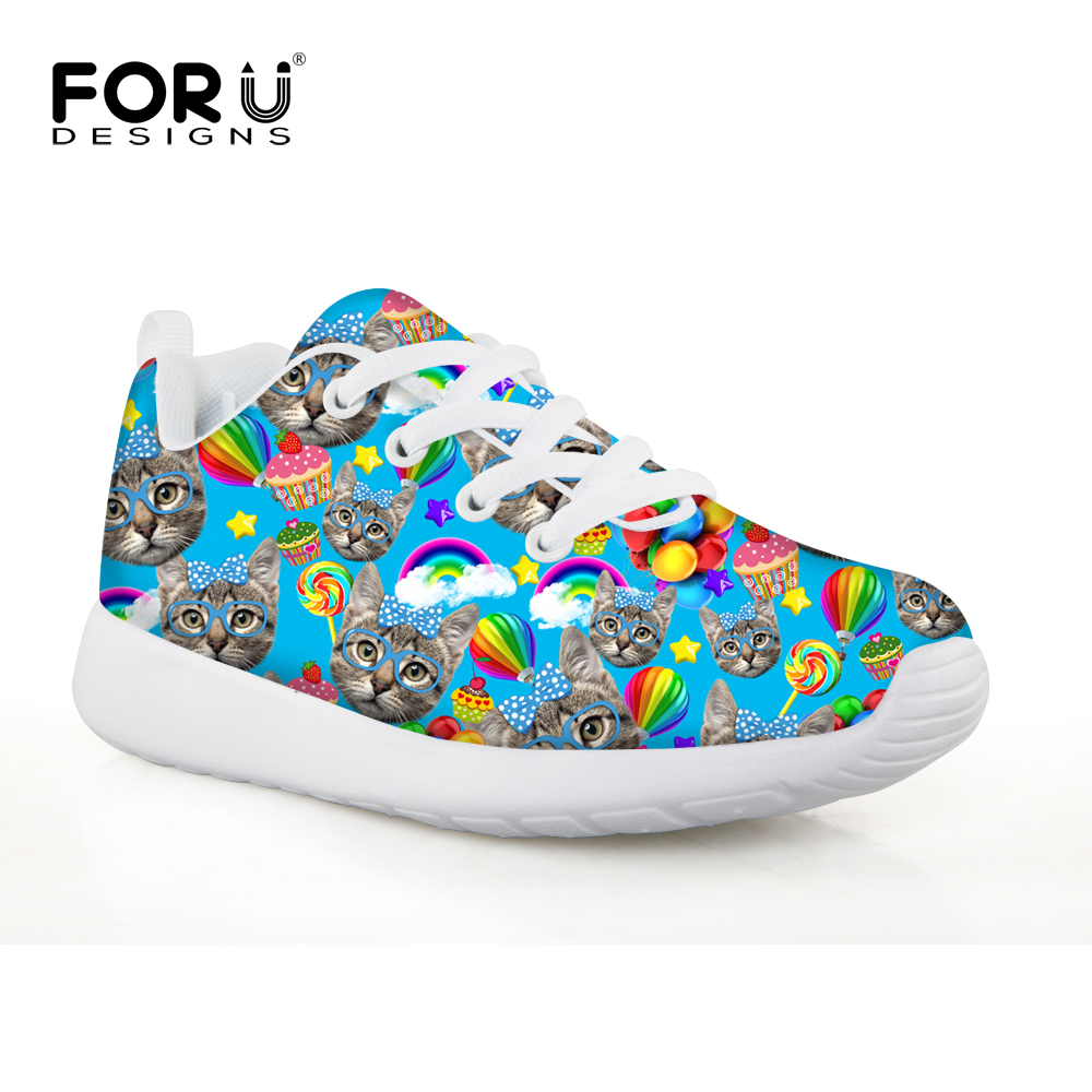 f9c94a06d09 Casual Flat Kids Running Shoes Cute Kitty Cat Print Sport Sneaker for  Girls,Breathable Children Cotton Trainer chaussure Enfant