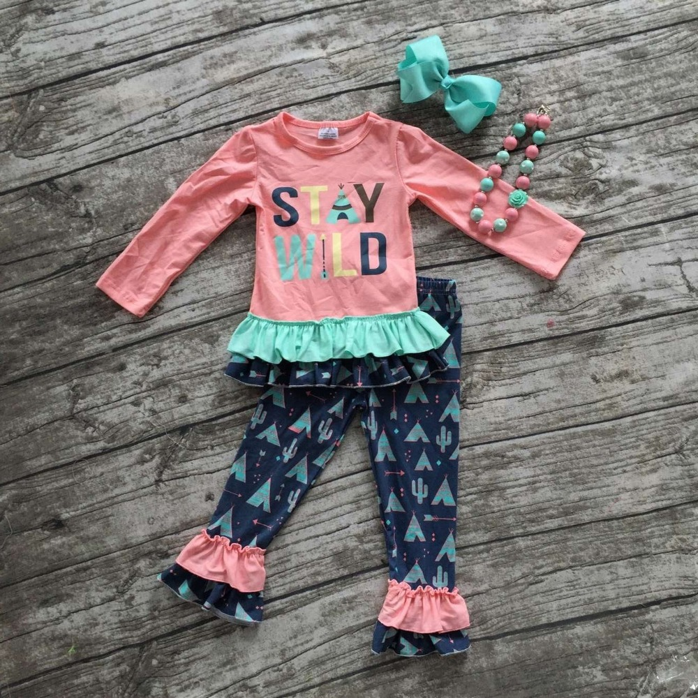 """2016 Fall/winter baby clothes boutique outfits """"stay wild ..."""