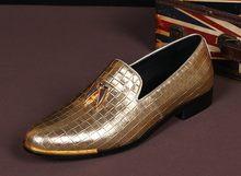 Choudory/мужские итальянские ботинки кожаные модельные мужские туфли черного серебристого и золотистого цвета Мокасины модная мужская Свадеб...(Китай)