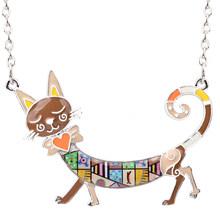 Женское Ожерелье с эмалью Bonsny, колье-чокер из сплава с подвеской в виде котенка или кота, украшение для животных(Китай)