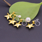 Pearl Drop Earrings Non Piercing Golden Metal Five-pointed Star Earrings With Pearl