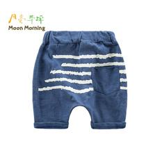 Moon Morning Boys Shorts Cotton Wave Print Regular Blue Sea Pant Beach Summer Causal Elastic Waist