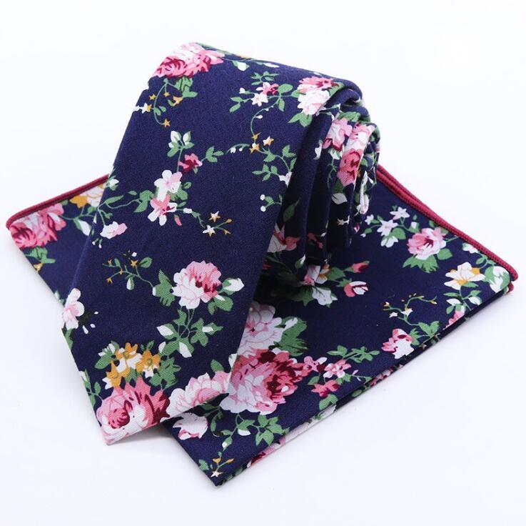Mens Gift Groomsmen Matching Set Tie Floral Skinny Necktie Wedding Ties And Pocket Square Set
