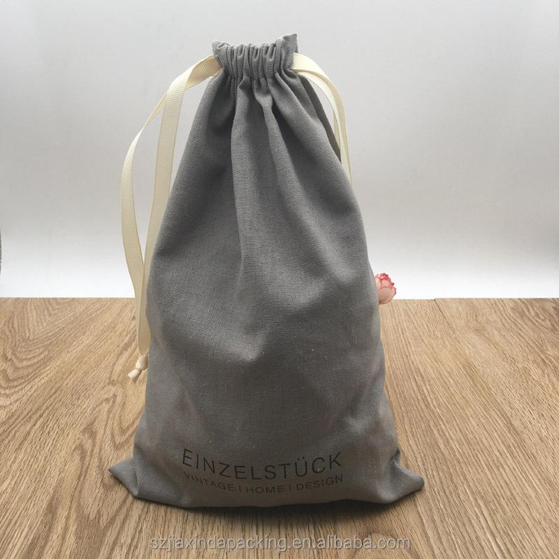 Подарочная упаковка из хлопка и льна с принтом логотипа на заказ, мягкая хлопчатобумажная ткань, Упаковочная Сумка на шнурке