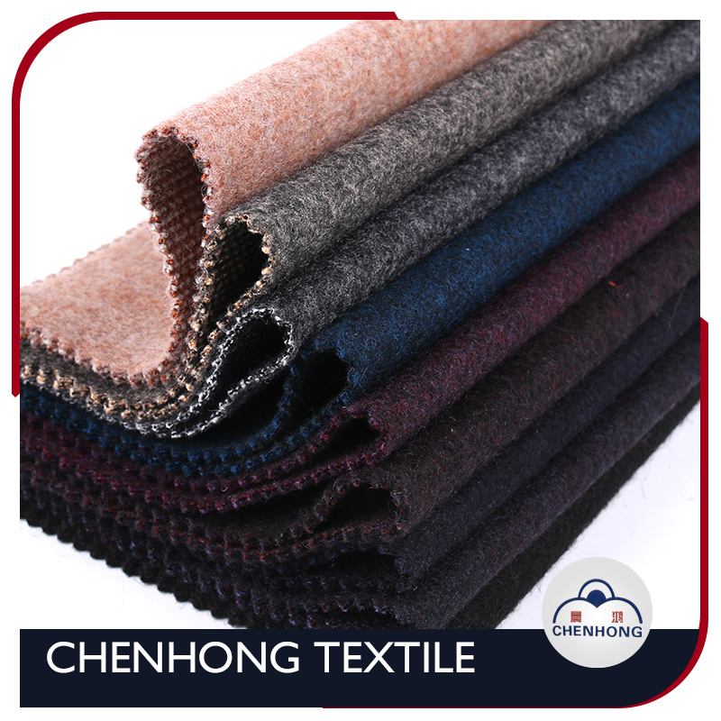 shaoxing manufacturer cheapest wool polyester blend fabric for fancy winter coat