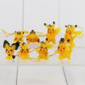 8Pcs Set Anime Pikachu Figures With Cellphone Strap Figure Toys 2 4cm
