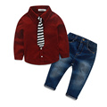 2016 new boys clothes Corduroy shirt with striped tie jeans fashion kids clothes boys wedding party