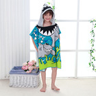 High Quality Microfiber Kids Cartoon Print Beach Towel Poncho, Children Beach Poncho, Kids Hooded Beach Poncho Towel