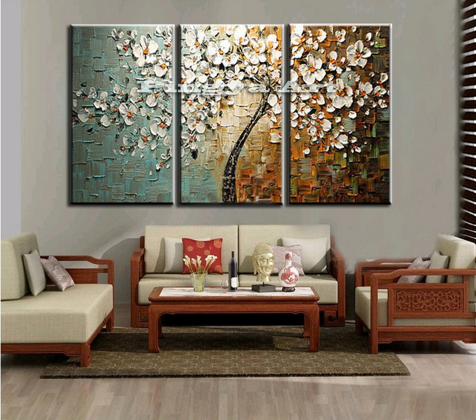 3 panel abstract wall art cheap modern handmade tree. Black Bedroom Furniture Sets. Home Design Ideas