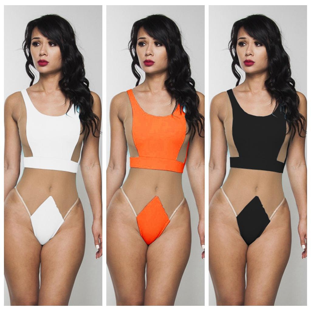 Лето стиль женщины в сетчатая ткань шитьё пэчворк один штук сексуальный вырез купальники купальный костюм купальный костюм пляжная