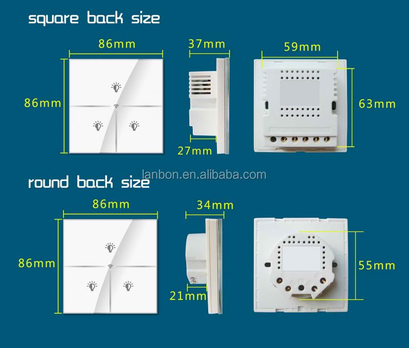 lanbon smart home wifi lichtschalter 1 2 3 gang schalter touch schalter ferngesteuerte durch. Black Bedroom Furniture Sets. Home Design Ideas