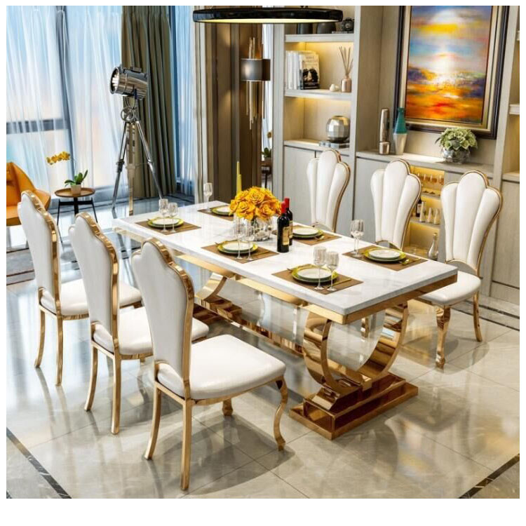 Cheap Modern Luxury Royal Large Square Dining Room Furniture Stainless Steel White Marble Dining Table And Chairs Set Design Buy Dining Table Marble Dining Table Marble Top Stainless Steel Dining Room Furniture Dining