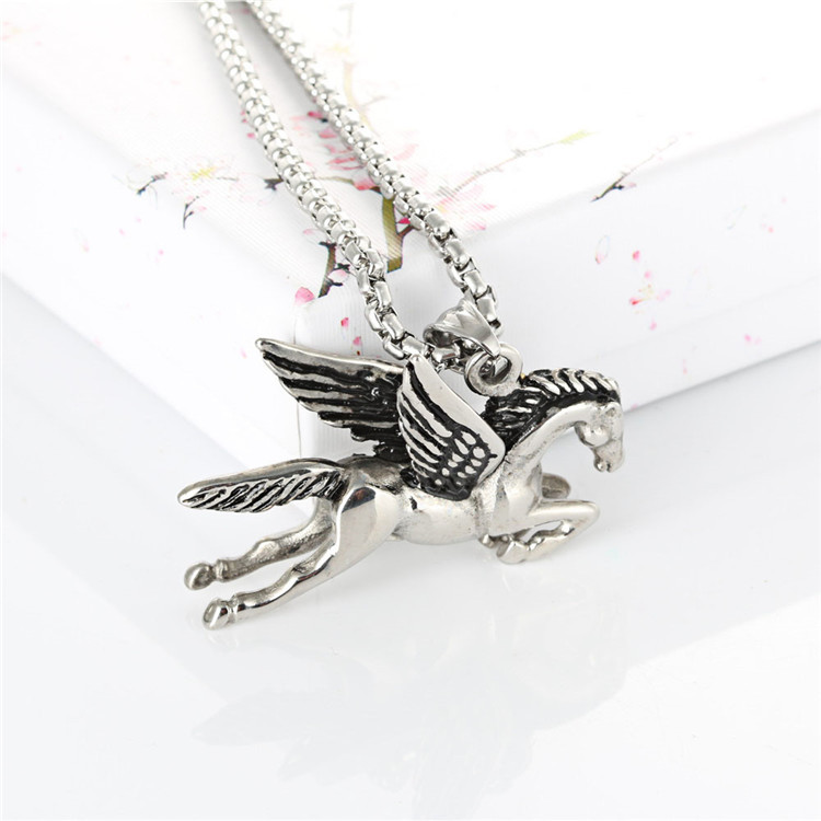 Pegasus pendants punk necklace men retro Zodiac Titanium horse necklace