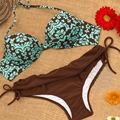 Women Push Up Bikini Sexy Retro Bandage Swimsuit Brown Printed Vintage Swimwear Bathing Suit Women Girls