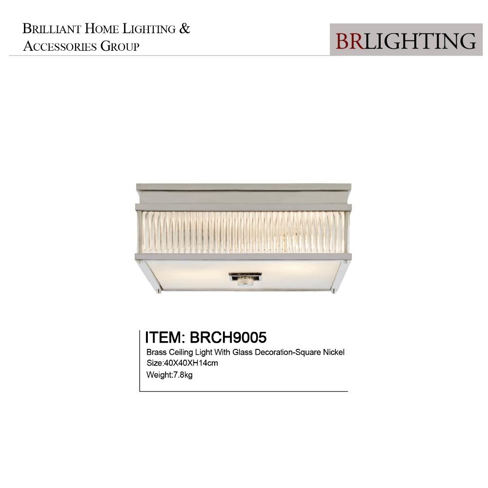 Новая квадратная никелевая электросхема для домашней спальни, освещение из латуни со стеклянными потолочными светильниками