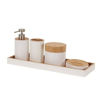 Colorful Bamboo 5 Piece Bathroom Accessory Set