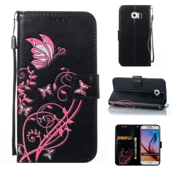 Luxury butterfly flower leather wallet for Galaxy S3 S4 S5 S6 S7 S8 Plus Wallet Flip Phone Leather Case Cover