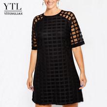 YTL женское платье большого размера, черное Сетчатое мини-платье с коротким рукавом, большие размеры, летние винтажные вечерние платья 4XL 5XL 6XL...(Китай)