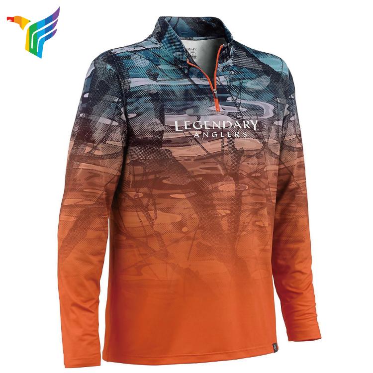 Custom Digital UP-Protection Fishing Long Sleeve Shirt Custom Sublimation Mens Fishing Shirt