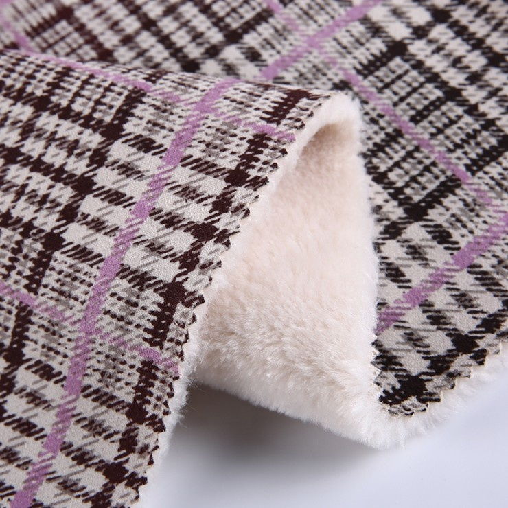 100% polyester clothing printed bonded sherpa fleece suede fabric crumpled