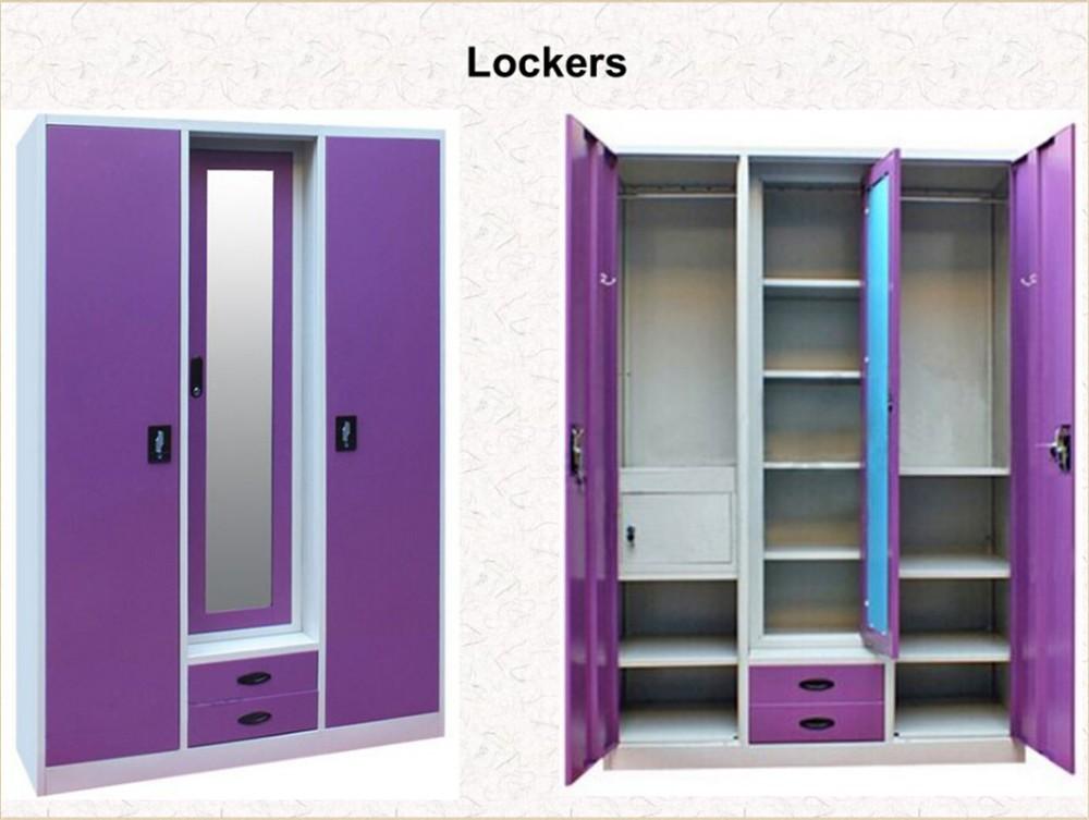 Popular Purple 3 Door Wardrobe With Mirror Unique Indian