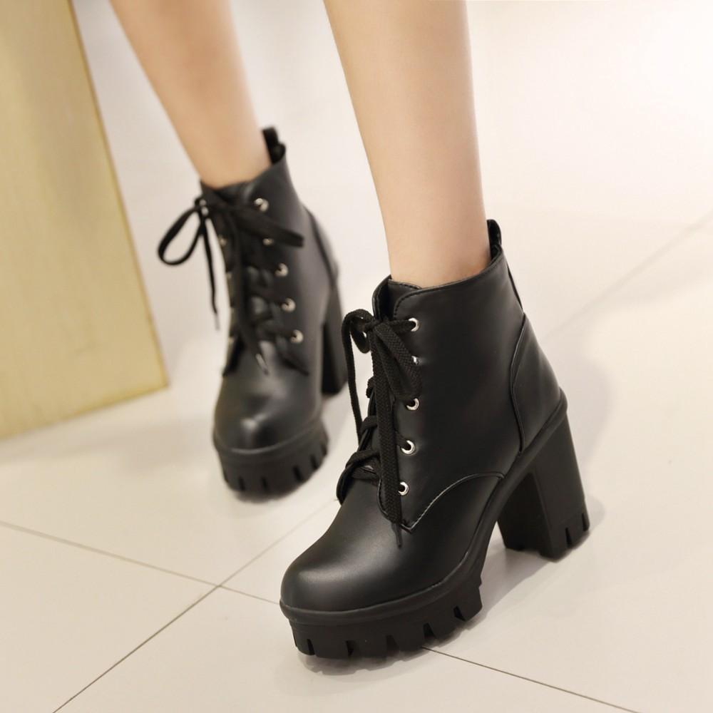 2015 antumn high heel ankle boots heels lace up platform ankle booties square heel gothic. Black Bedroom Furniture Sets. Home Design Ideas