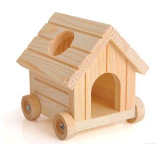 Новое! Оптовая 2 ШТ./ЛОТ LEOSTAR движимого деревянный дом клетке хомяка, хомяк играть в игрушки