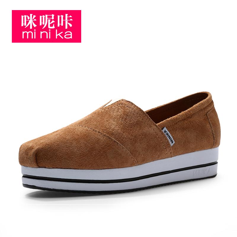 Minika/низкая цена; Женская Нескользящая однотонная дышащая обувь из искусственной кожи; Прогулочная обувь без застежки на платформе