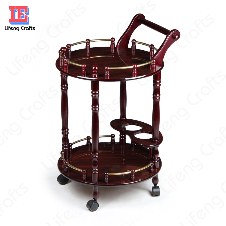 Wood Liquor/Tea/Wine/Food Serving Cart for Home/Bar/Restaurant/Hotel
