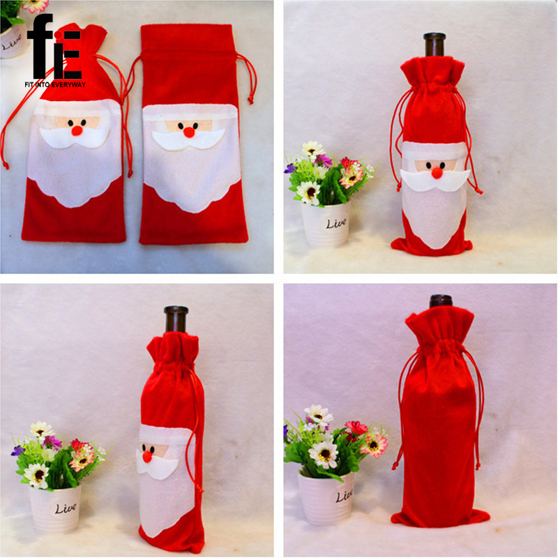 5 pcs/lot Christmas Wine Bag Santa Bag Christmas Decoration Red Wine Bottle Cover Bags Home Party Decors