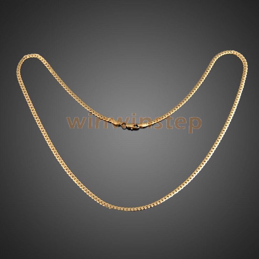 BSS Fashion Simple Design Gold Plated Flat Curb Chain