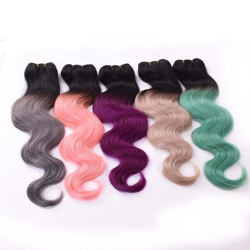 Fast delivery Remy Indian ombre hair weaves,two tone color remy human hair bundles