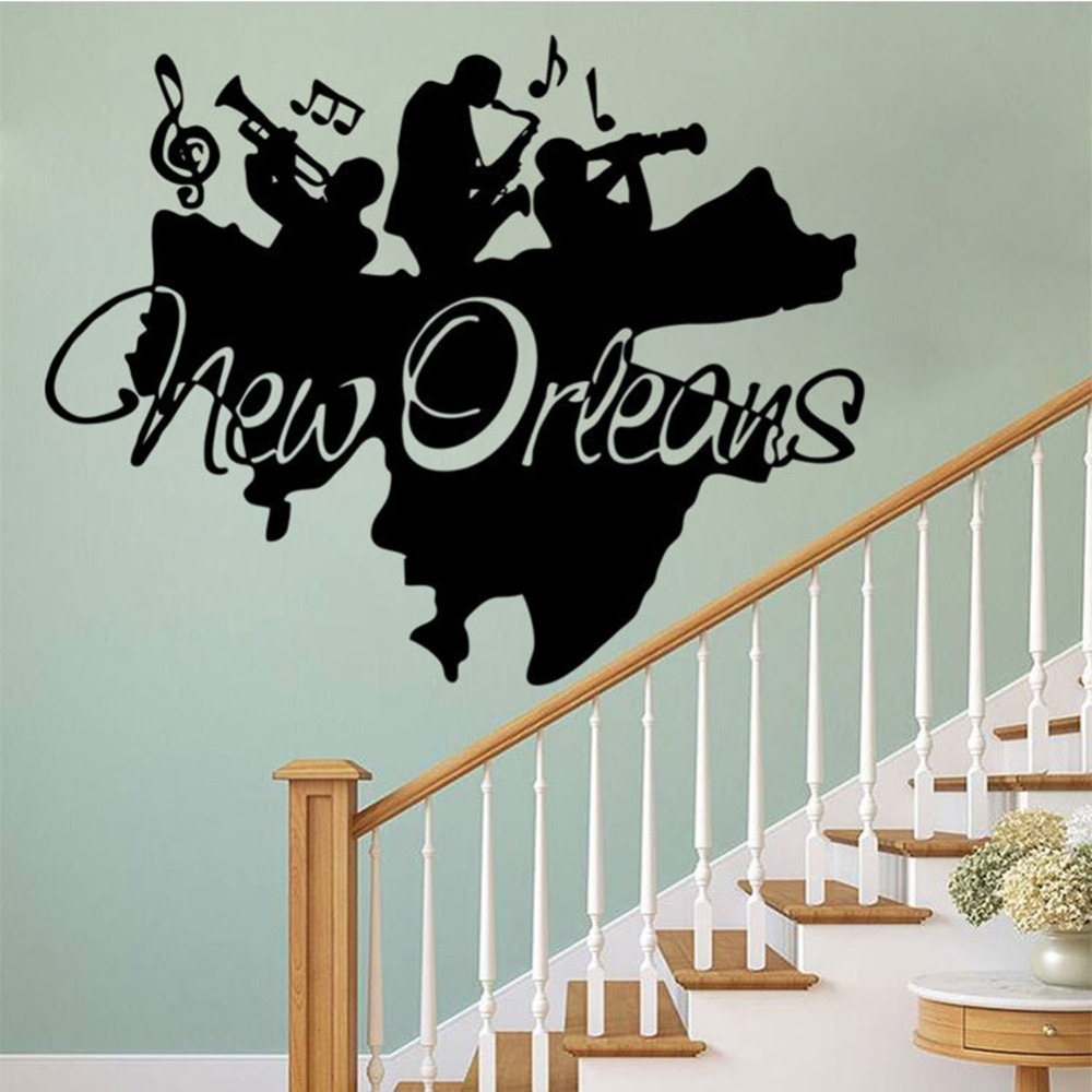 Home Decor New Orleans: Creative New Orleans Wall Mural Sticker Jazz Band Wall