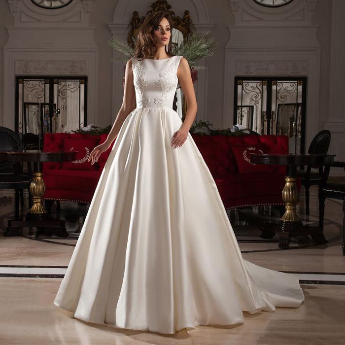 Wholesale Newest Simple Design Elegant Bridal Dress A Line: New Design Tank Sleeveless A Line Simple Elegant Satin