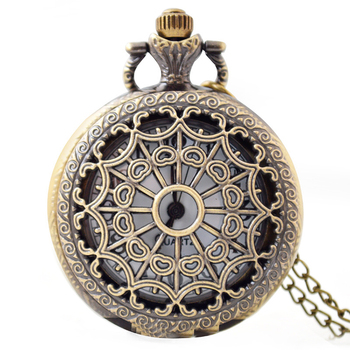 Spider-web Hollow Women Men Pendant Necklace Watch Bronze Antique Vintage Quartz Steampunk Pocket Watch (KKWT82044)