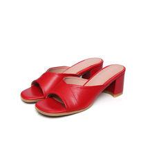Женские шлепанцы из натуральной кожи FOREADA, красные шлепанцы из воловьей кожи на высоком блочном каблуке, Размеры 33-43, для лета(Китай)
