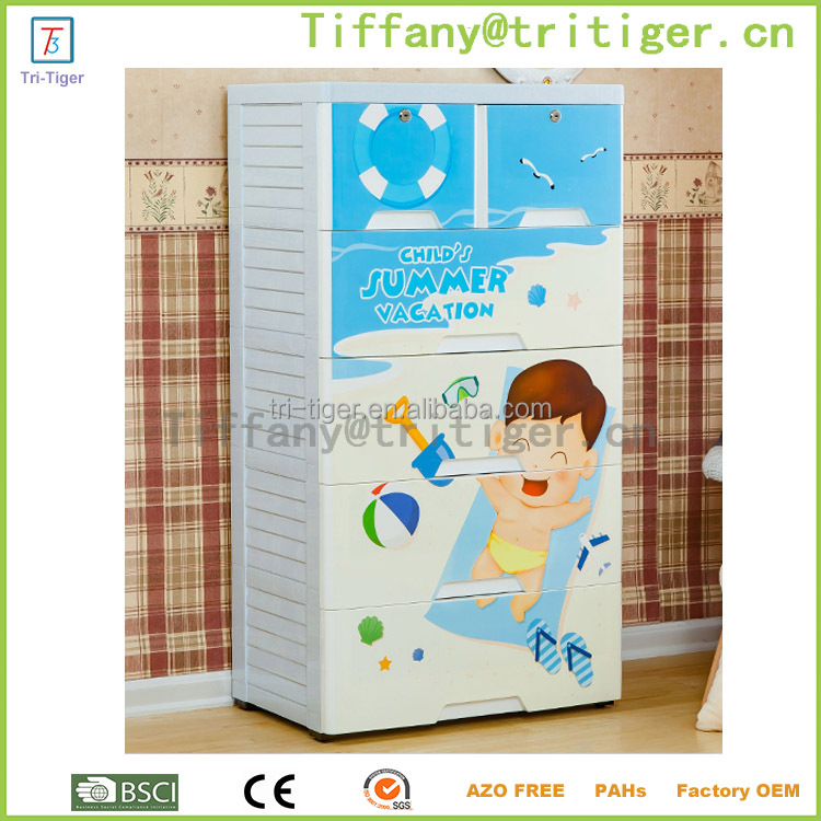 Fashion style Plastic Drawer Storage colorful Cabinet Cartoon Pattern With Wheels