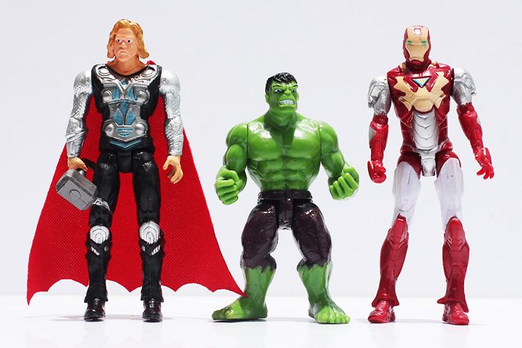 THE AVENGERS//SET 6 PCS 10 CM CAPITAN AMERICA BATMAN HULK THOR IRON MAN SUPERMAN
