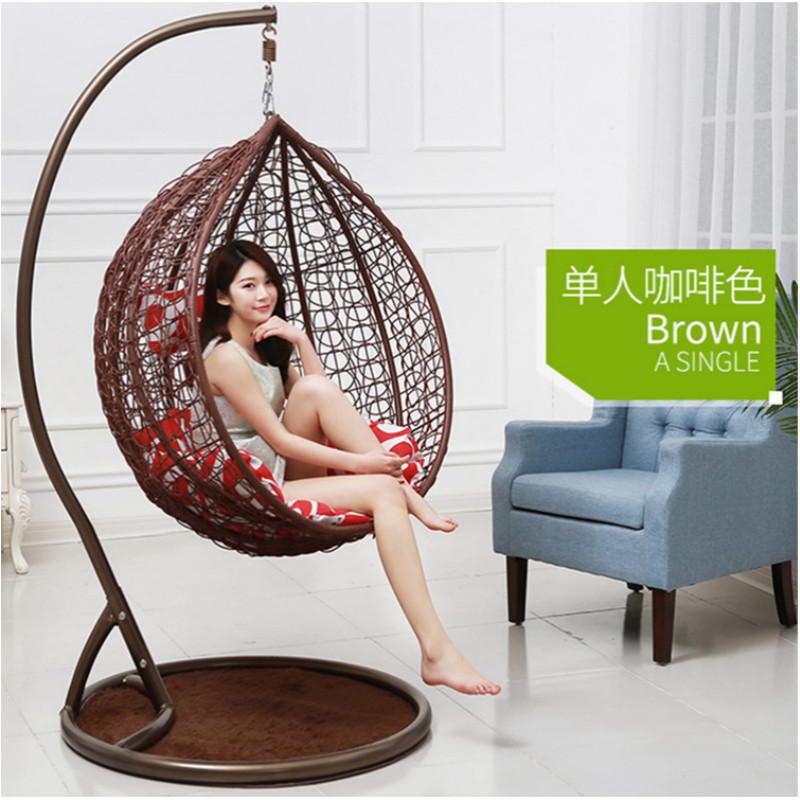 Повседневное уличное подвесное кресло из ПЭ ротанга, плетеное одиночное кресло-качели для гамака