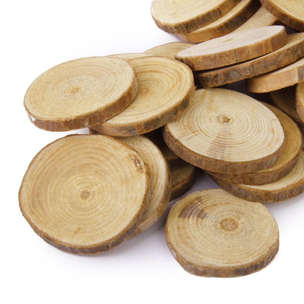 30pcs 4 5cm wood log slices discs diy crafts wedding centerpieces nature pine wood tree rings. Black Bedroom Furniture Sets. Home Design Ideas