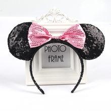 Милая повязка на голову в горошек с бантом, милые аксессуары для волос с ушками мыши, Нарядная шапка для детей, праздничная одежда для девоче...(Китай)