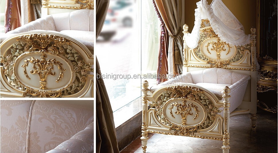 Luxury Royal Wooden Baby Crib European Style New Born Baby
