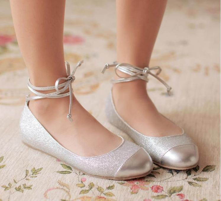 Girls Silver Prom Shoes