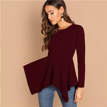 fab01e9a44 Sheinside Elegant T-shirt Women Zip Back Asymmetrical Hem Solid Peplum Long  Sleeve