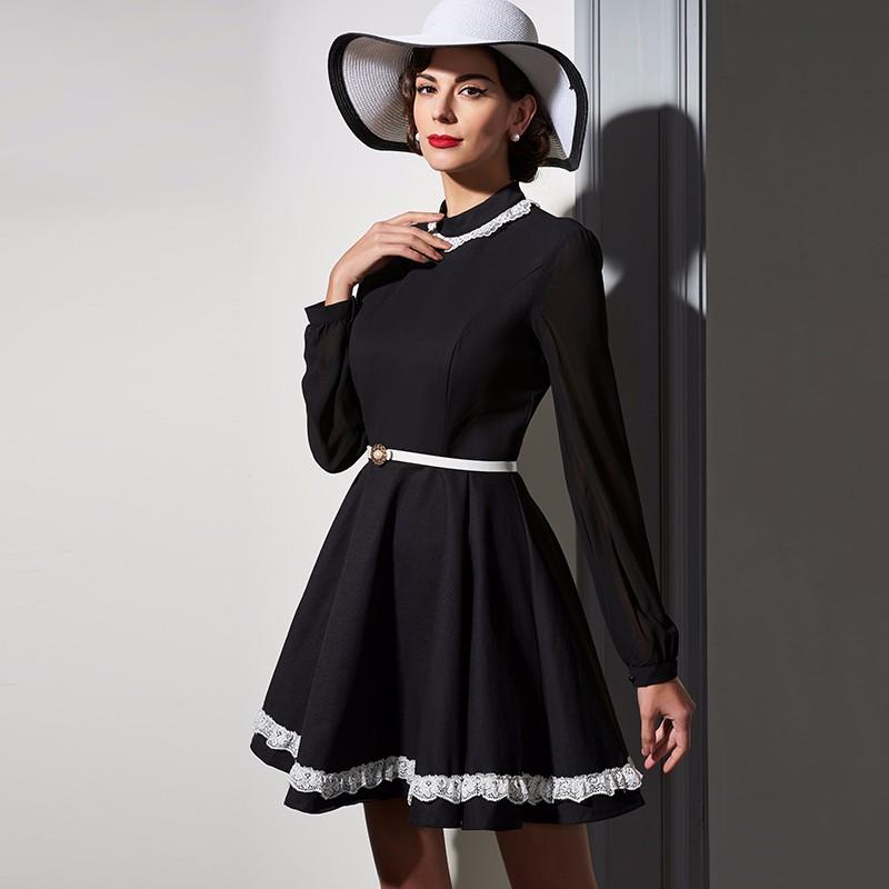 be05aa5c3c07f Sisjuly women dress winter office dress long sleeve elegant black ...