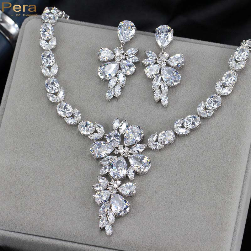Luxury White Gold Plated Fairy Sparkling Cz Diamond Bridal Wedding Drop Earrings And Necklace Jewelry Set For Brides J139