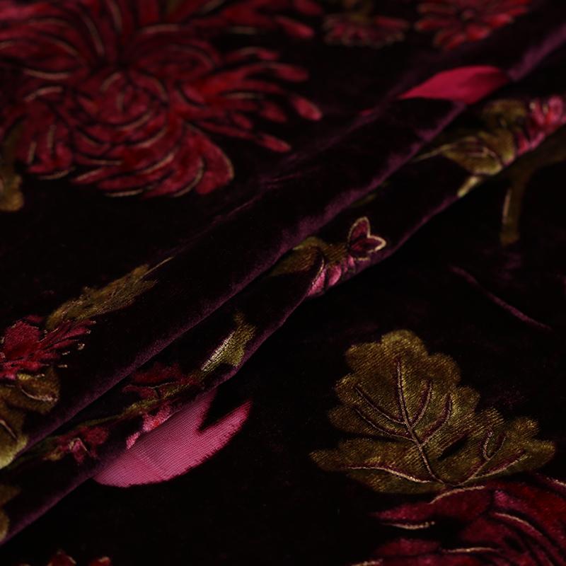 Цветочный принт вискоза шелк Бархат выгорание ткань