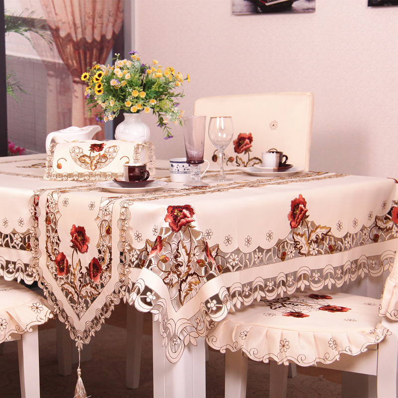 S Amp V European Luxury Polyester Embroidery Floral Tablecloth