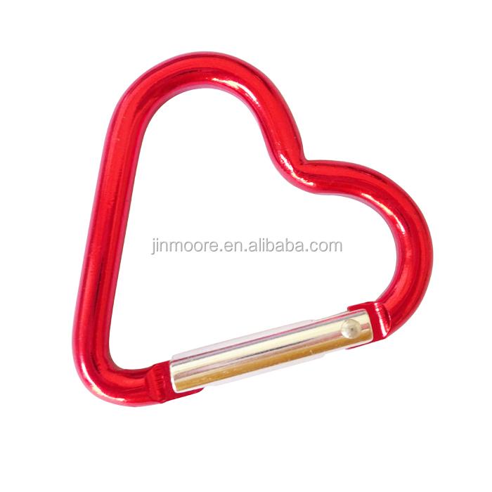 2× Heart Shape Metal Carabiner Keychain Clip Buckle Outdoor Camping Keyring Hook