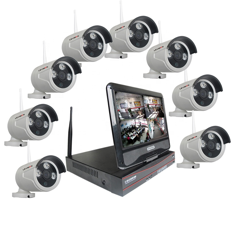 LS VISION 960P Cctv Kit 8 Channel Wireless Home Security Outdoor Video Surveillance IP Camera NVR System with 10 inch LCD Screen